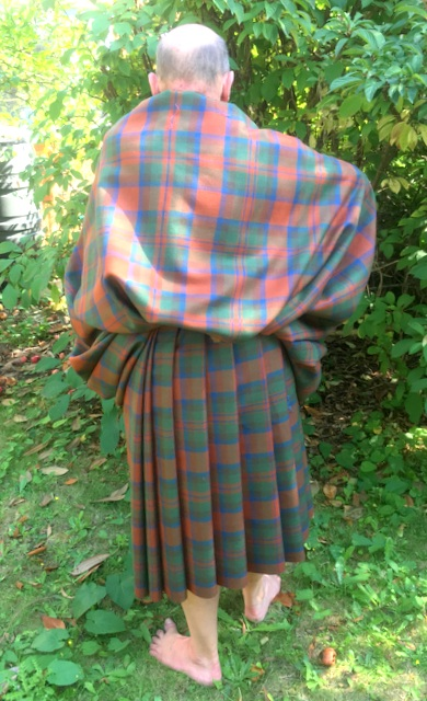 The Great Kilt, a large wrap of tartan arranged for comfort and protection